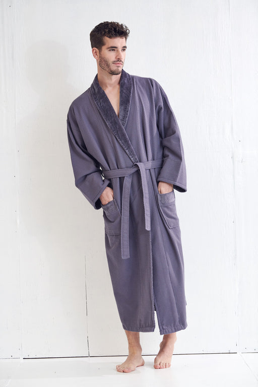 Men's Waffle Charcoal Gray Bathrobe, Velour Shawl, 100% Cotton
