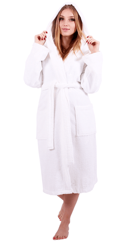 a woman who wears a white bathrobe