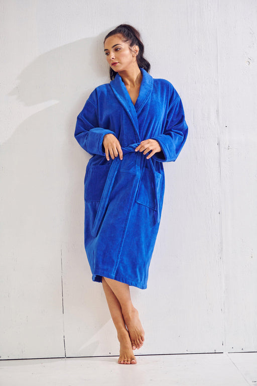 Women's Royal Blue Bathrobe, Velour Shawl Collar, 100% Cotton