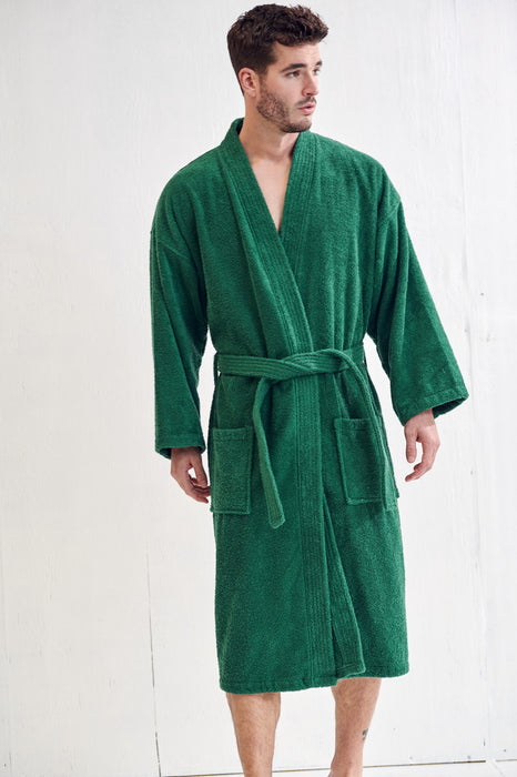 Men's Terry Green Bathrobe, Kimono Style