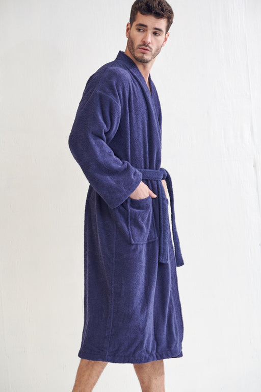 Men's Terry Navy Bathrobe, Kimono Style