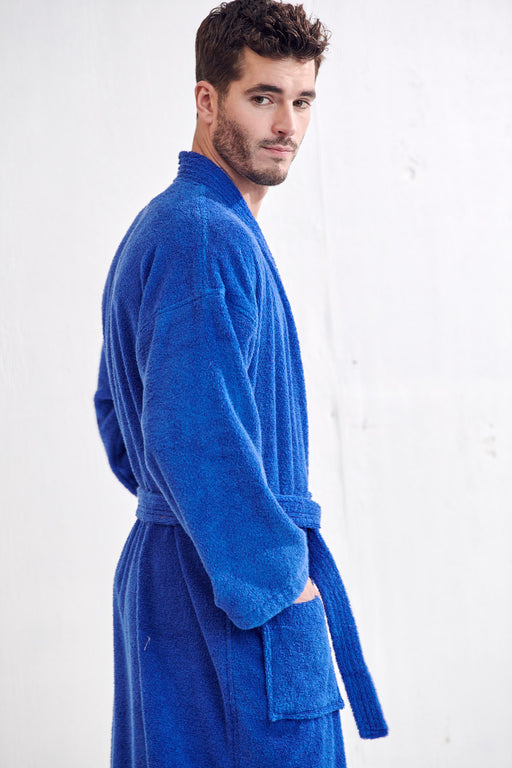Men's Terry Royal Blue Bathrobe, Kimono Style