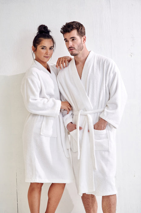 Men's Terry White Bathrobe, Kimono Style