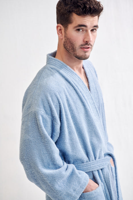 Men's Terry Light Blue Bathrobe, Kimono Style