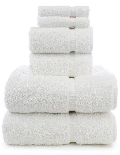 Dobby Border Towel Set, 100% Turkish Cotton, 6 Pack