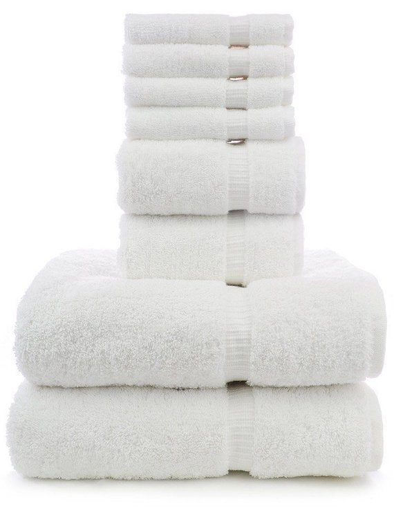 Dobby Border Towel Set, 100% Cotton, 8 Pack