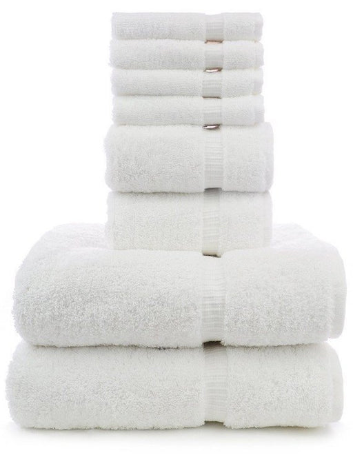 Dobby Border Towel Set, 100% Turkish Cotton, 8 Pack