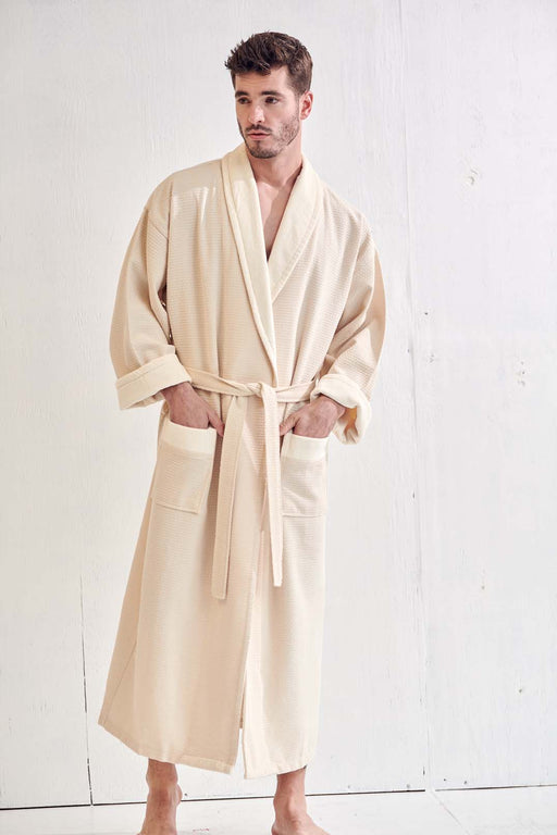 Men's Waffle Beige Bathrobe, Velour Shawl, 100% Cotton