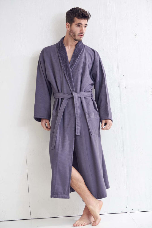 Men's Gray Bathrobe, Velour Shawl, 100% Cotton