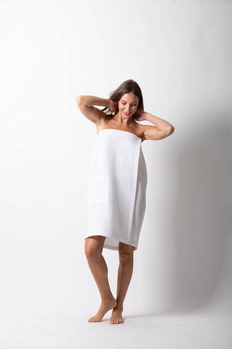 Women's Waffle Body Wrap, Adjustable White