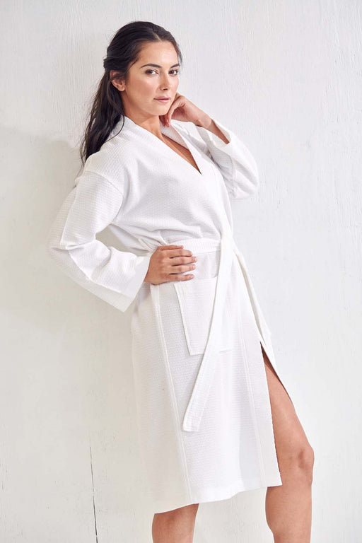 Women's White Long Bathrobe, Poly Blend