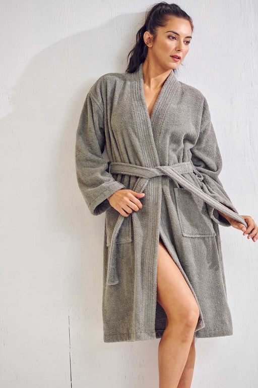 Women's Terry Gray Bathrobe, Kimono Style