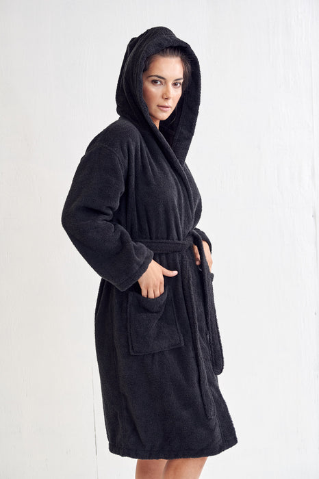 Women's Terry Black Bathrobe, Hooded