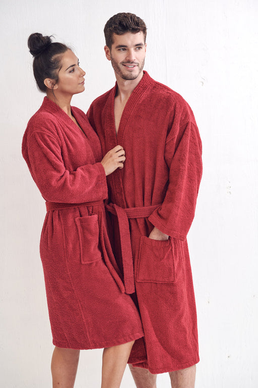 Women's Terry Burgundy Bathrobe, Kimono Style