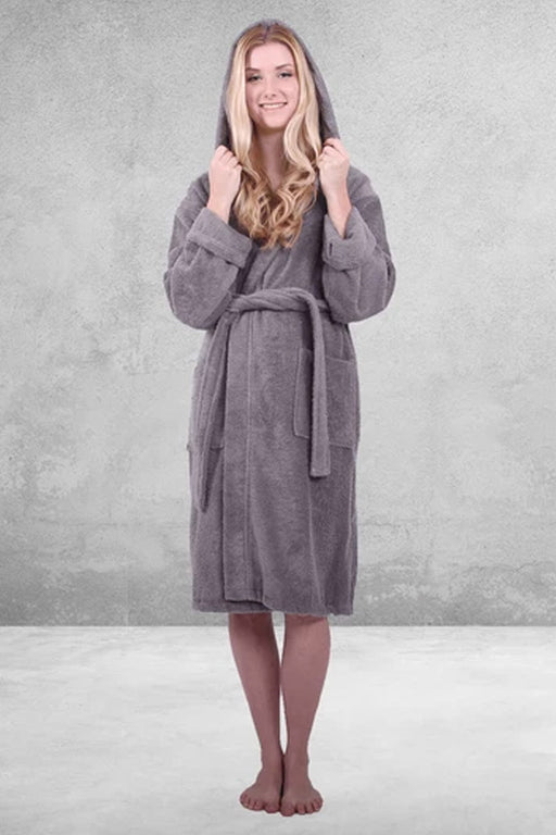 Women's Terry Gray Bathrobe, Hooded