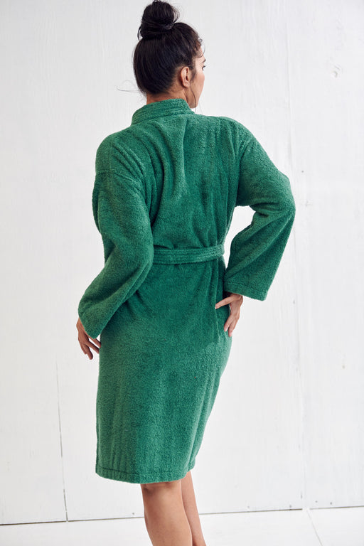 Women's Terry Green Bathrobe, Kimono Style