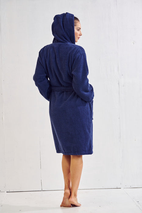 Women's Terry Navy Bathrobe, Hooded