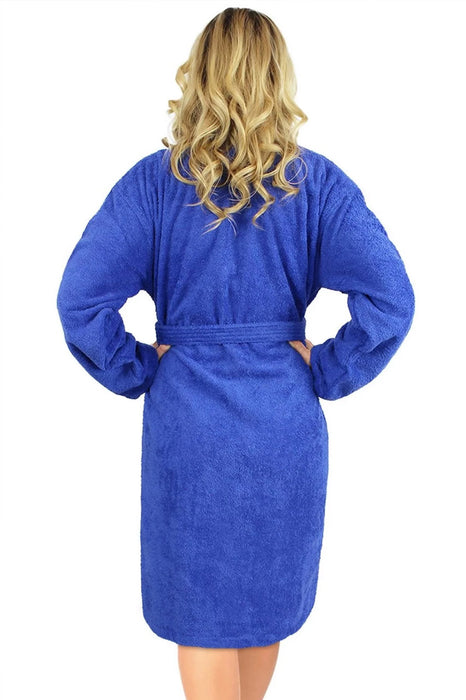 Women's Terry Royal Blue Bathrobe, Kimono Style