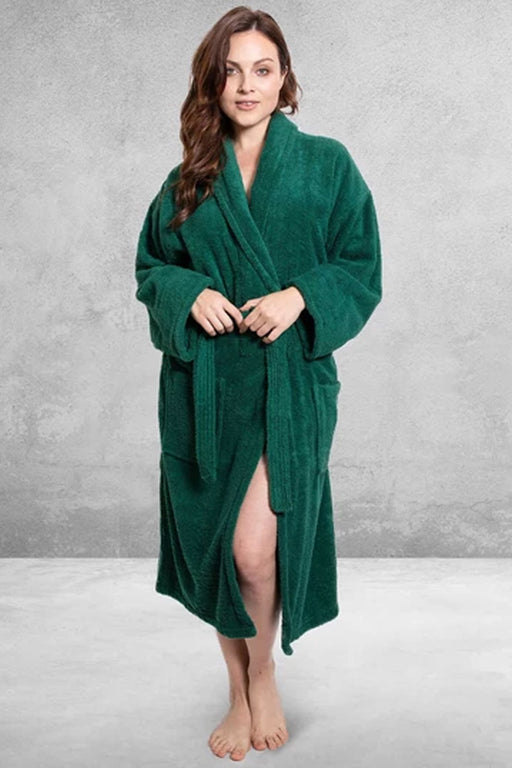 Women's Terry Shawl Green Bathrobe