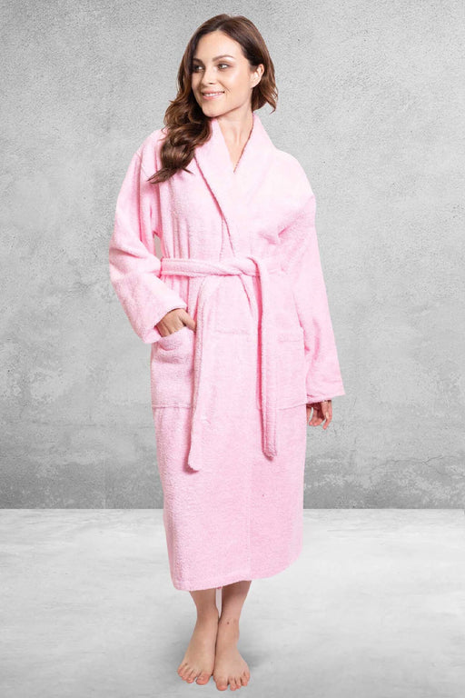 Women's Terry Shawl Pink Bathrobe
