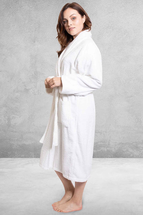 Women's Terry Shawl White Bathrobe