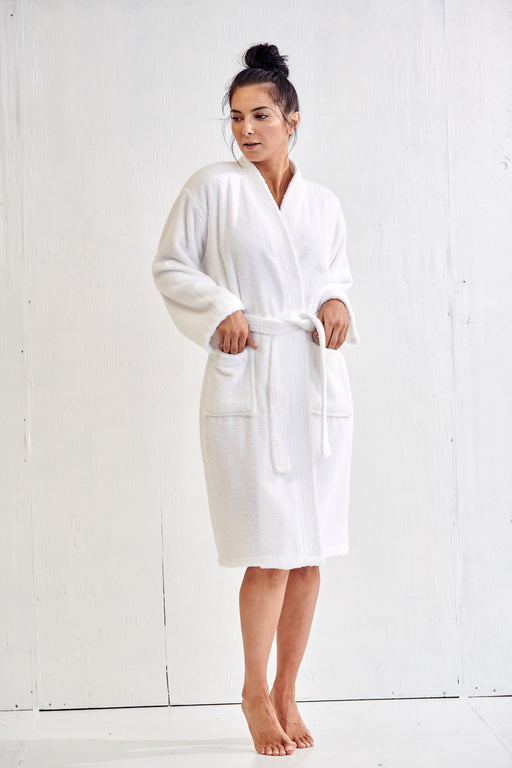 Women's Terry White Bathrobe, Kimono Style