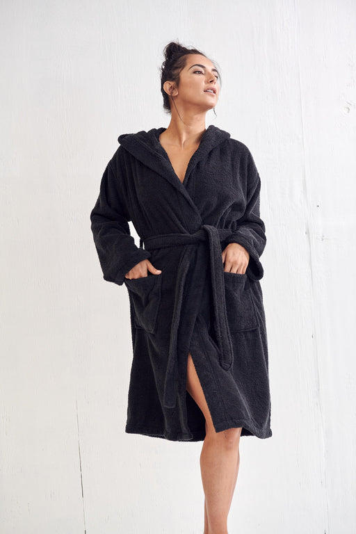 Women's Velour Terry Black Bathrobe, Hooded