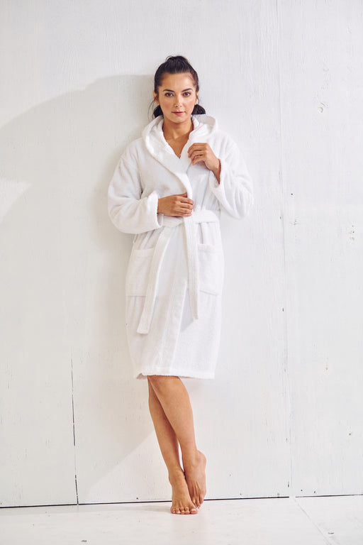 Women's Velour Terry White Bathrobe, Hooded