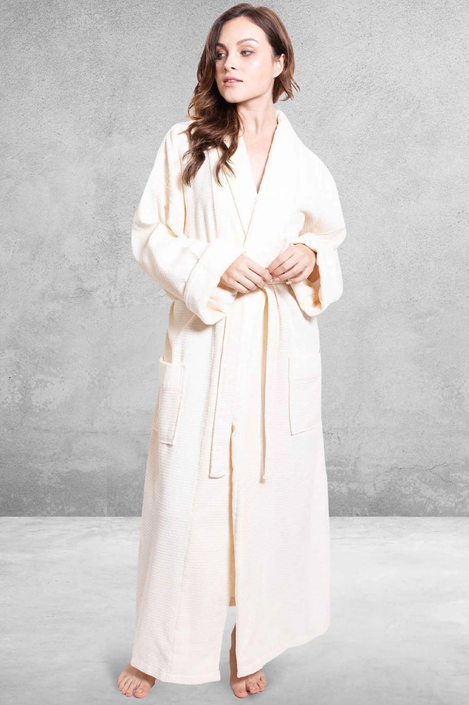Women's Waffle Beige Bathrobe, Velour Shawl, 100% Cotton