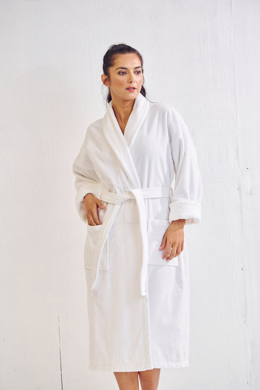 Women's Waffle White Bathrobe, Velour Shawl, 100% Cotton