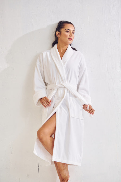 Women's White Bathrobe, Velour Shawl Collar, 100% Cotton