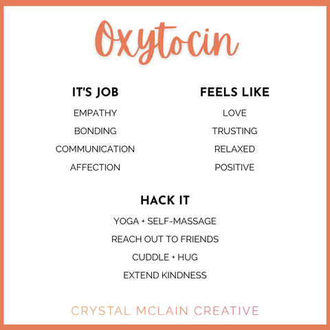 CRYSTAL MCLAIN CREATIVE OXYTOCIN PURPOSE FEELS LIKE AND HACKS
