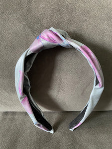 Silver and Orchid painted floral hard knot band- Eishesstyle collab