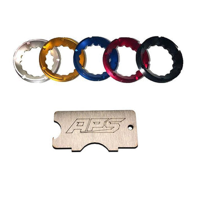 An image of 5 colored light bezels from APS