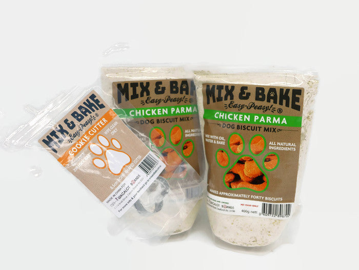Mix & Bake Chicken Parma Dog Cookie Premix - 2 X 420G Bags. Comes With A Cookie Cutter.