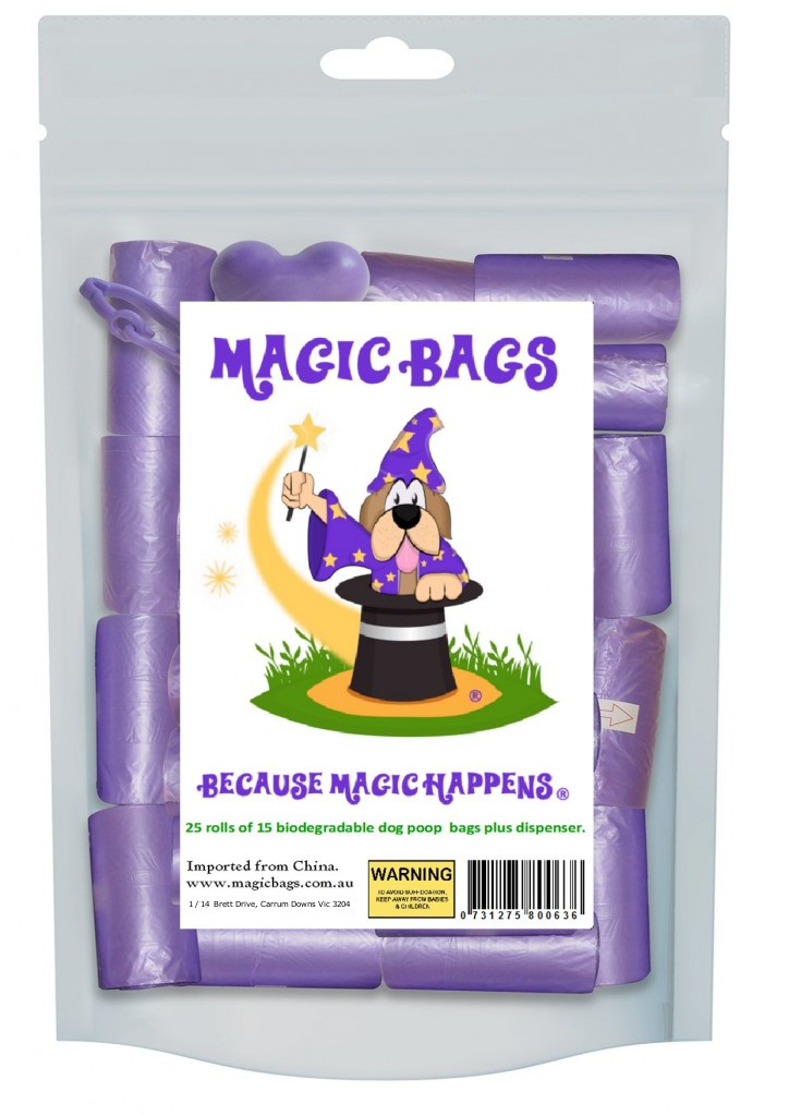 Magic Bags one dispenser & 25 rolls of dog poop bags