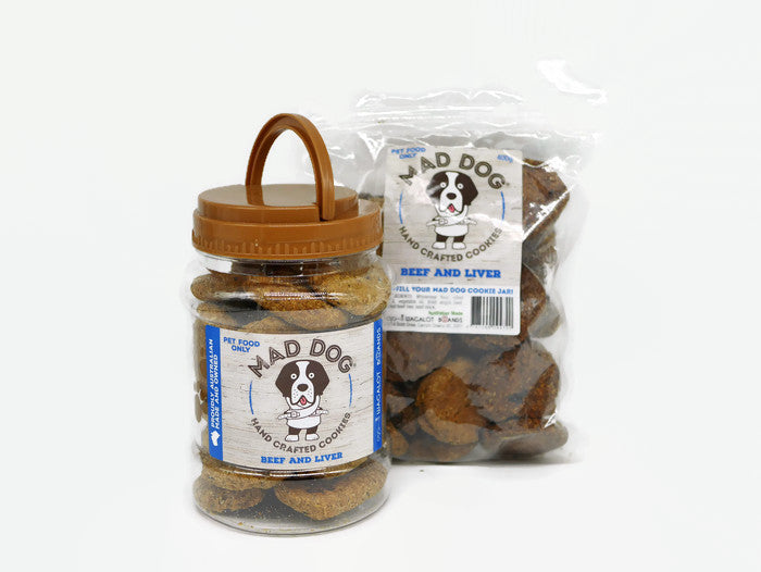 Mad Dog Beef & Liver Cookie Jar 400G and Refill Pack 400G