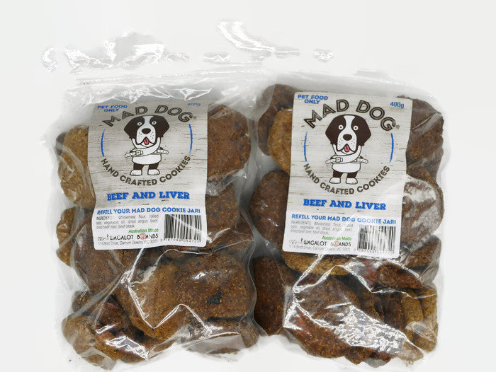 Mad Dog Beef & Liver Dog Cookies 2 X 400G Bag