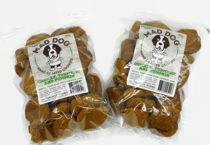 Mad Dog Chicken, Turmeric & Pumpkin Dog Cookies 2 X 400G Bag