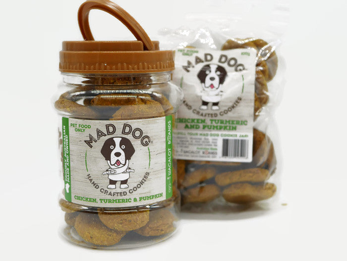 Mad Dog Chicken, Turmeric & Pumpkin Cookie Jar 400G and Refill Pack 400G