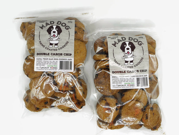 Mad Dog Double Carob Chip Dog Cookies 2 X 400G Bag