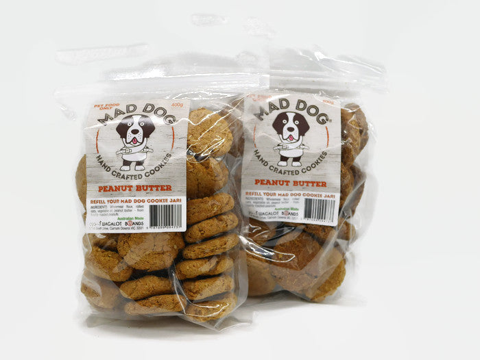 Mad Dog Peanut Butter Dog Cookies 2 X 400g Bag