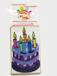 Cookie Card - rectangular cookie with birthday cake printed on icing complete with candle and drilled hole