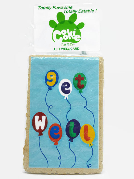 Cookie Card - rectangular cookie with get well message and picture printed on icing