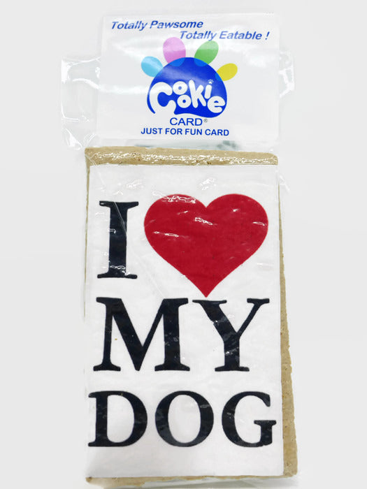 Cookie Card - rectangular cookie with fun message and picture printed on icing - I heart my dog