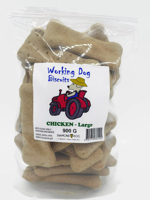 Working Dog Biscuits - Large bone shaped chicken biscuits for dogs - 900 grams in resealable bag