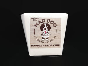 Mad Dog Double Carob Chip Cookie in white noodle box 200g