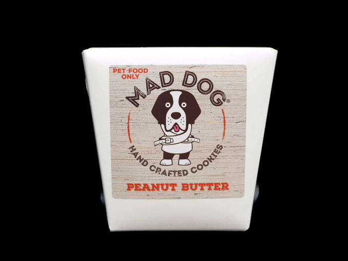 Mad Dog Peanut Butter dog Cookies in a white Noodle Box – 200g