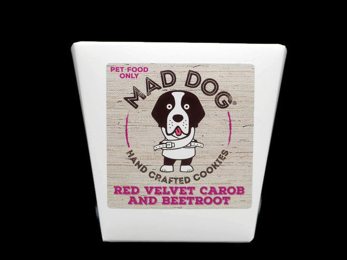 Red Velvet dog cookies in a white Noodle Box – 200g