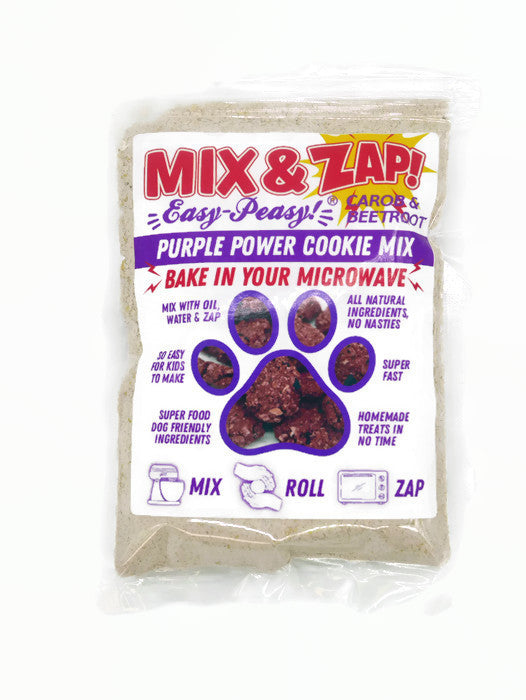 Mix & Zap Purple Power - make at home microwave Carob & Beetroot dog cookies